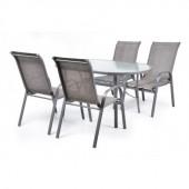 Mobilier de gradina, masa cu 4 scaune schelet metalic HECHT Ekonomy Set 4