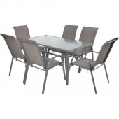 Set mobiler de gradina, masa cu 6 scaune schelet metalic HECHT Sofia Set