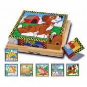 Puzzle lemn din cuburi Animalele de casa Melissa&Doug