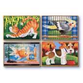 Set 4 puzzle lemn in cutie Animale de companie Melissa&Doug