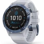 Ceas fitness Garmin Fenix 6 Pro Solar mineral blue titanium, whitestone band, 47mm
