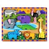 Puzzle lemn in relief Safari Melissa&Doug